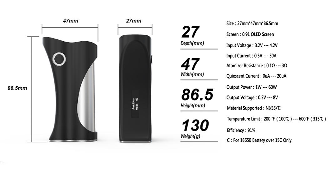 ambitionmods 60W Hera box mod manufacturer for vapor