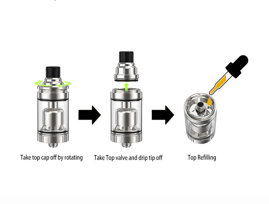 Ambition 2.0 ml &3.5 ml tank with top refilling and adjust e-juice flow 22 mm airflow control Gate MTL RTA-3