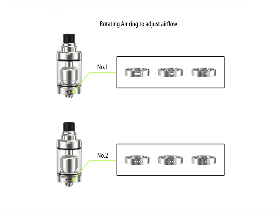 Ambition 2.0 ml &3.5 ml tank with top refilling and adjust e-juice flow 22 mm airflow control Gate MTL RTA-5